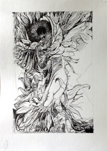 Summers last gasp, ink drawing on pencil.